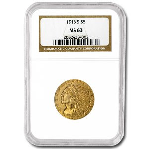 1916-S $5 Indian Gold Half Eagle MS-63 NGC