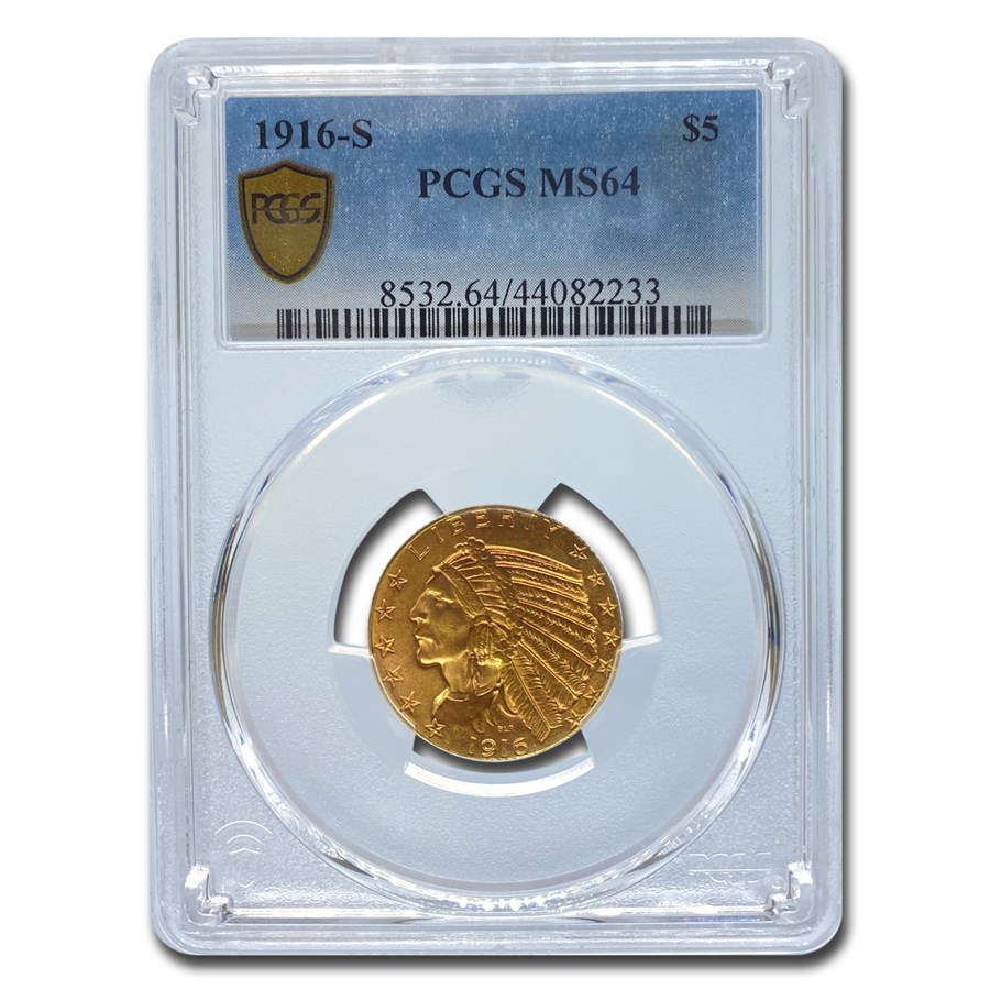1916-S $5 Indian Gold Half Eagle MS-64 PCGS
