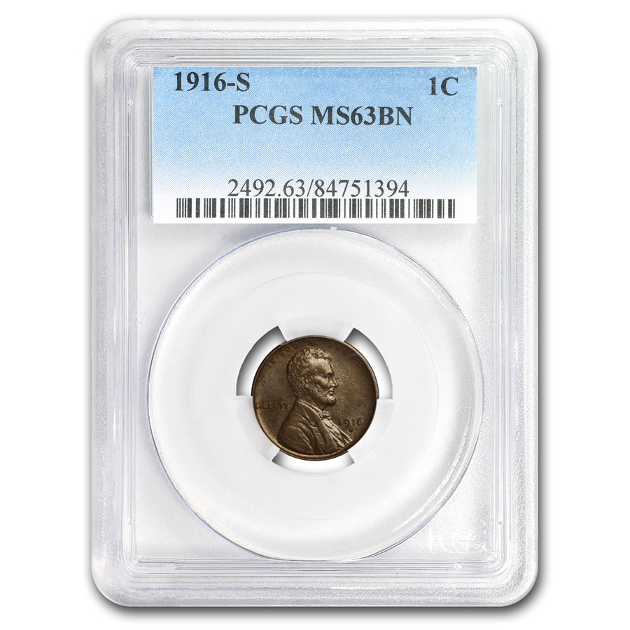 1916-S Lincoln Cent MS-63 PCGS (Brown)
