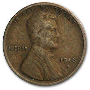 1916-S Lincoln Cent VG