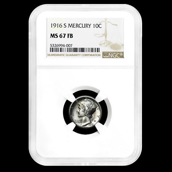 1916-S Mercury Dime MS-67 NGC (FB)