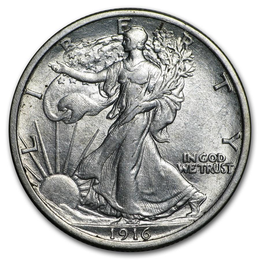 1916 Walking Liberty Half Dollar AU