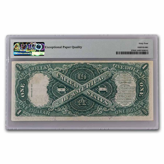 1917 $1.00 Legal Tender George Washington CU-64 EPQ PMG (Fr#37)