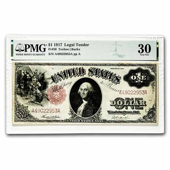 1917 $1.00 Legal Tender George Washington VF-30 PMG (Fr#36)