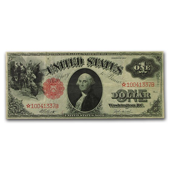 1917 $1.00 Legal Tender George Washington VF Star Note (Red Seal)