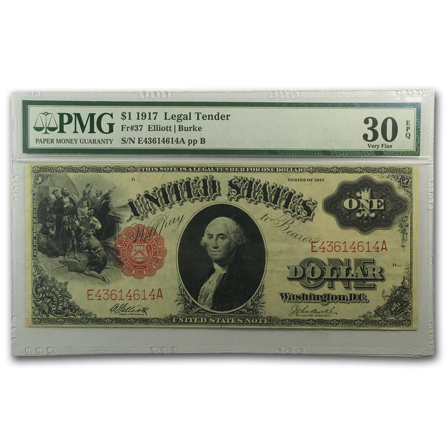 1917 $1.00 Legal Tender VF-30 EPQ PMG