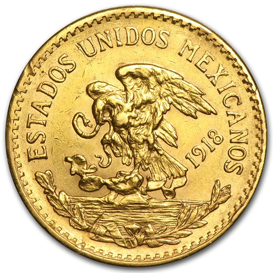 1917-1921 Mexico Gold 20 Pesos (Cleaned, Better Dates)