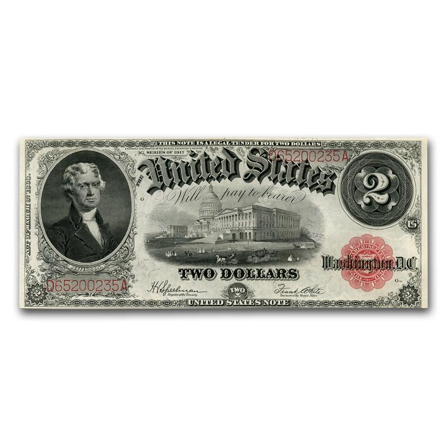 1917 $2.00 Legal Tender Jefferson AU (Bracelet Back Fr#60)