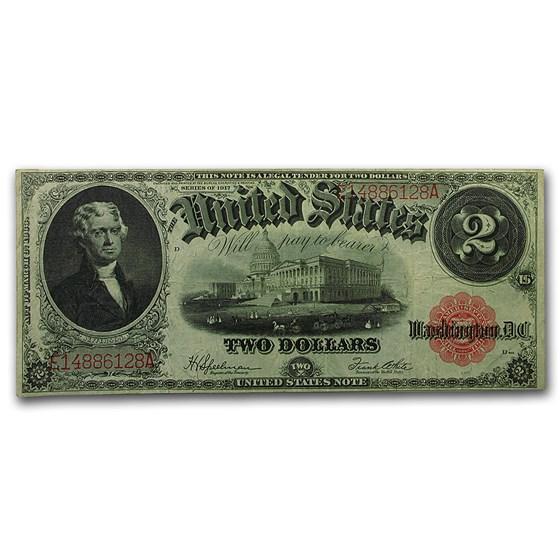 1917 $2.00 Legal Tender VF (Bracelet Back Fr#60)