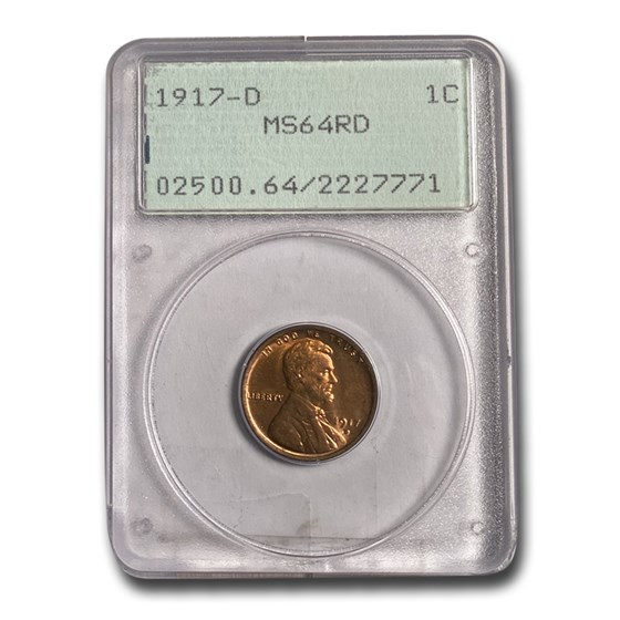 1917-D Lincoln Cent MS-64 PCGS (Red)