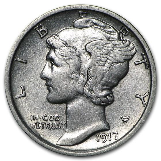 1917-D Mercury Dime AU