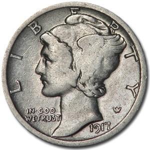 1917-D Mercury Dime Fine (Details)