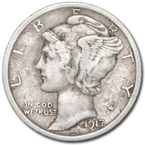 1917-D Mercury Dime VF