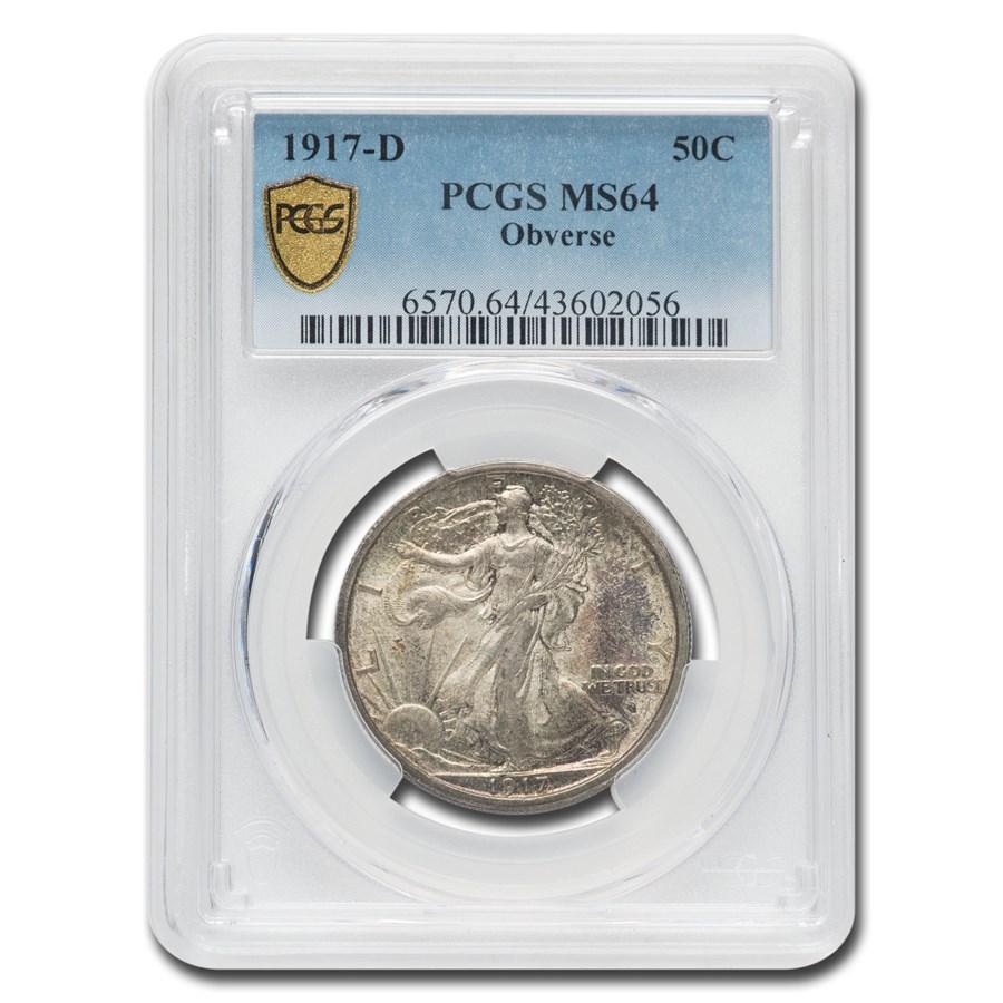 1917-D Obverse Walking Liberty Half Dollar MS-64 PCGS