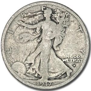 1917-D Obverse Walking Liberty Half Dollar VG