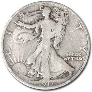 1917-D Rev Walking Liberty Half Dollar VG
