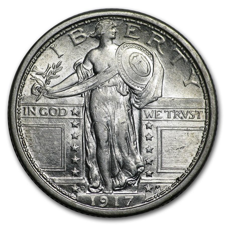 1917-D Standing Liberty Quarter Type-I AU