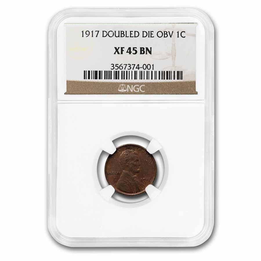 1917 Doubled Die Obverse Lincoln Cent XF-45 NGC (Brown)