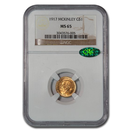 1917 Gold $1.00 Mckinley Memorial MS-65 NGC CAC