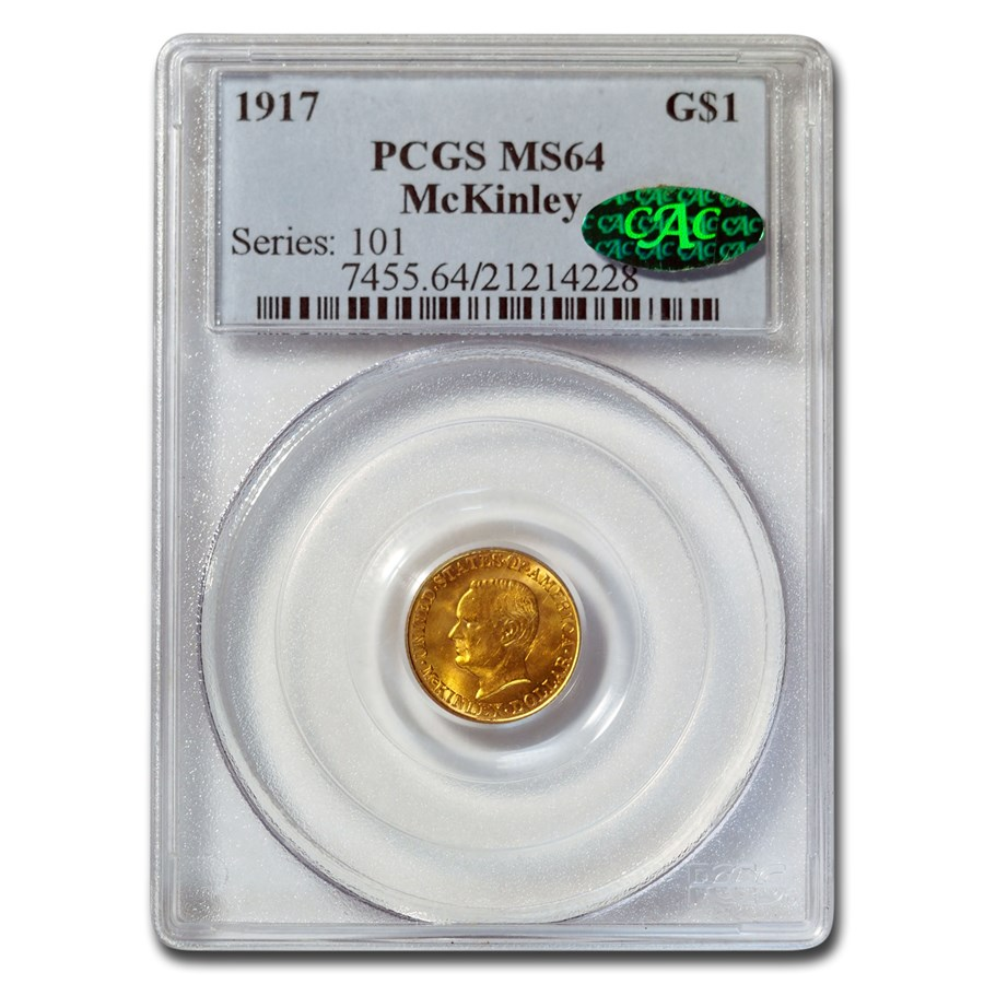 1917 Gold $1.00 McKinley MS-64 PCGS CAC