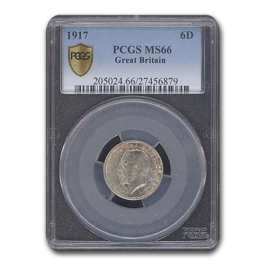 1917 Great Britain Sixpence George V MS-66 PCGS