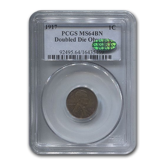 1917 Lincoln Cent Double Die Obverse MS-64 PCGS CAC (Brown)