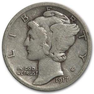1917 Mercury Dime VF