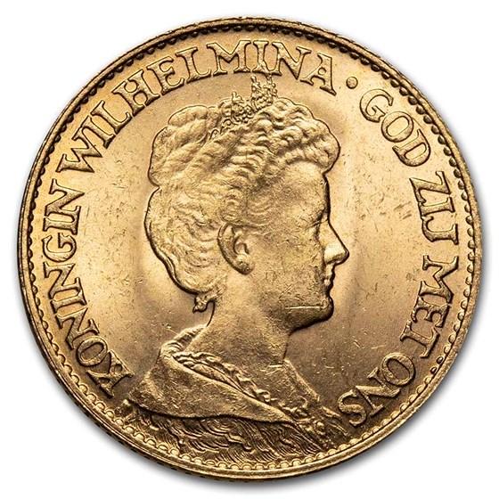 1917 Netherlands Gold 10 Gulden Wilhelmina I BU