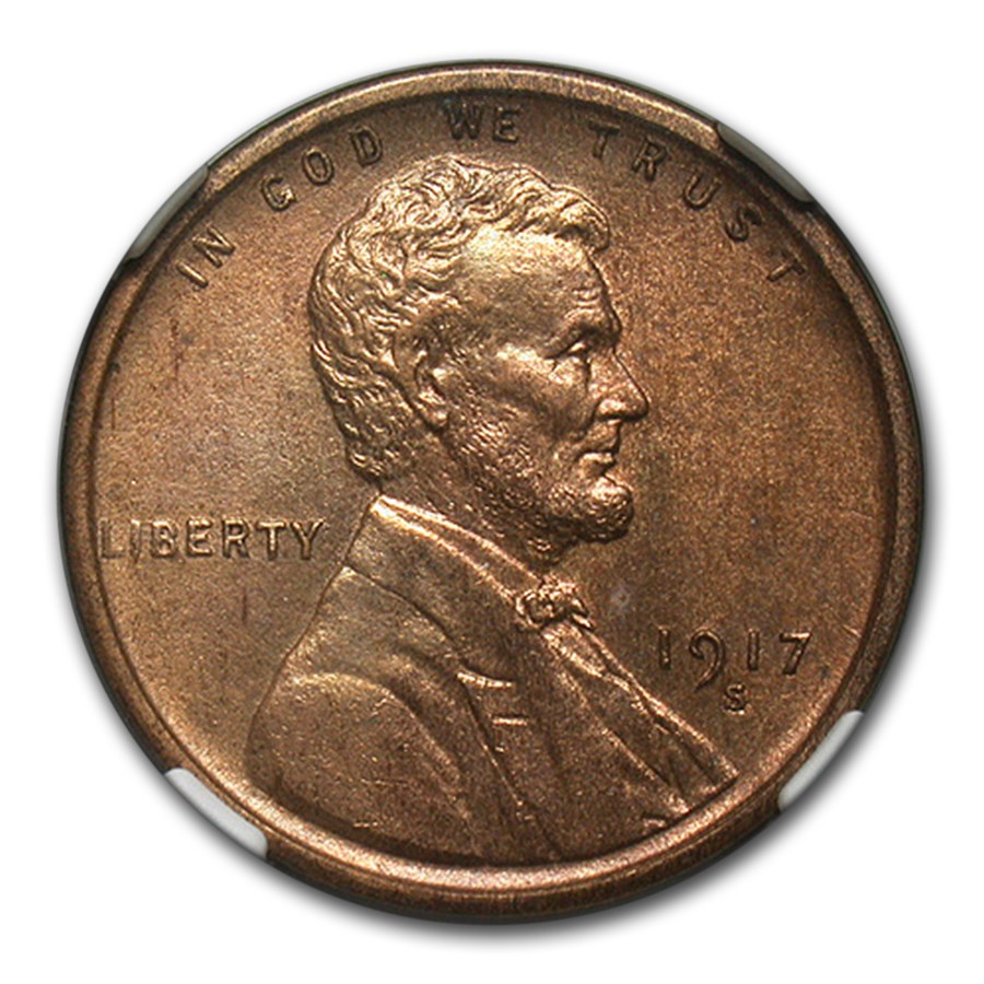 1917-S Lincoln Cent MS-63 NGC (Red/Brown)