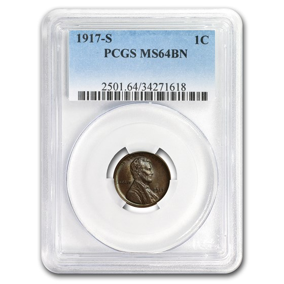 1917-S Lincoln Cent MS-64 PCGS (Brown)