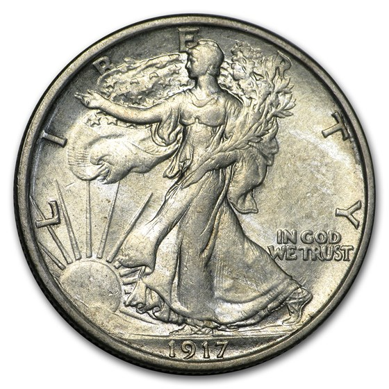 1917-S Rev Walking Liberty Half Dollar AU-55 Details (Cleaned)