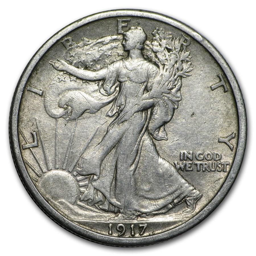1917-S Rev Walking Liberty Half Dollar XF