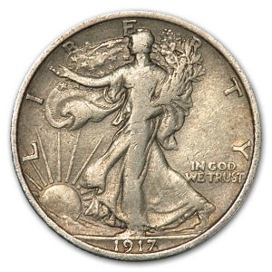 1917 Walking Liberty Half Dollar Fine