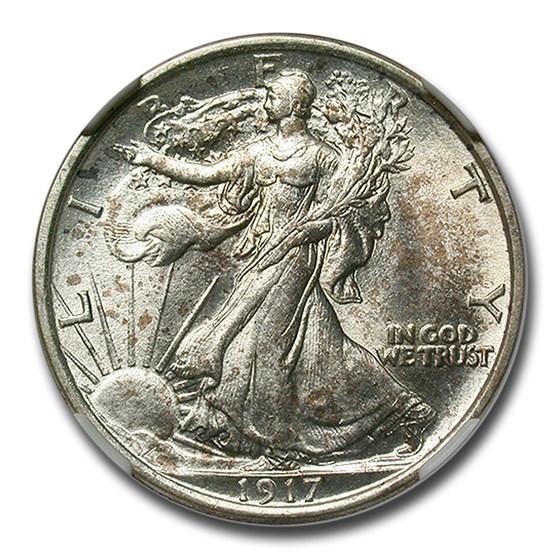 1917 Walking Liberty Half Dollar MS-62 NGC