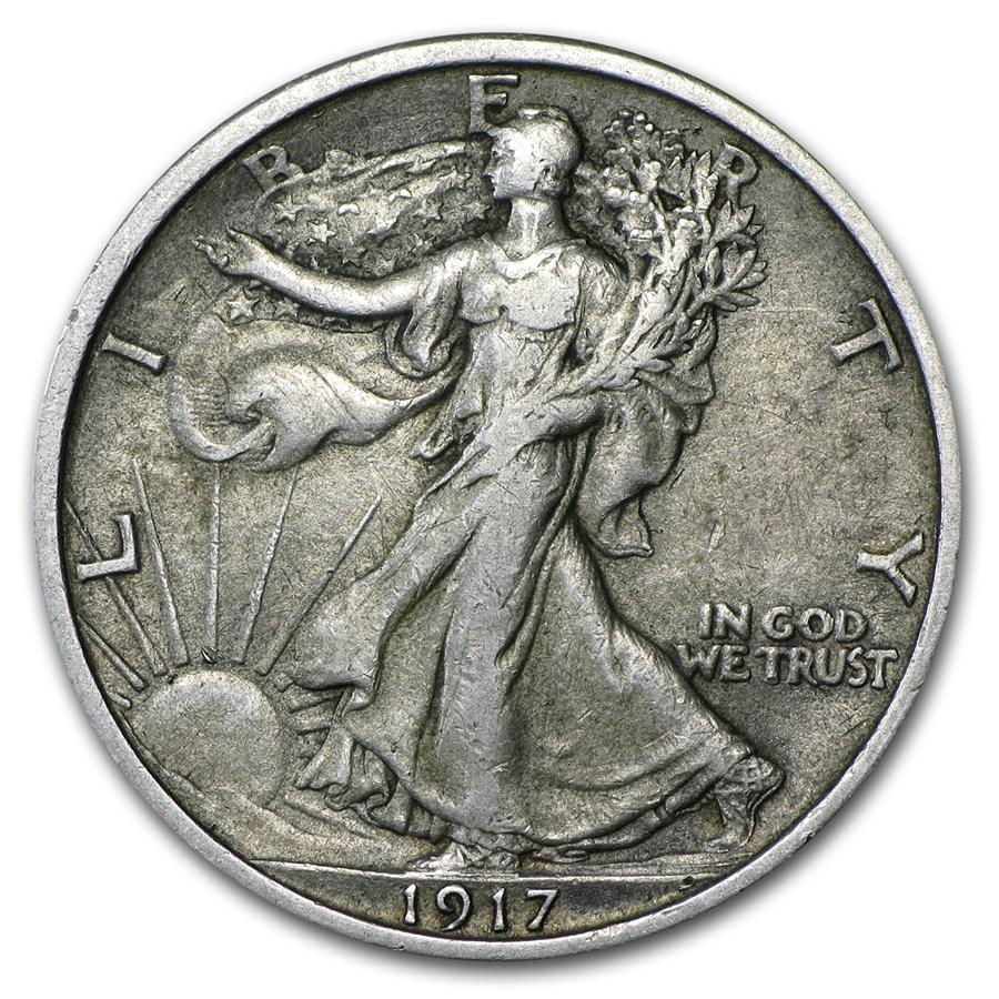 1917 Walking Liberty Half Dollar XF