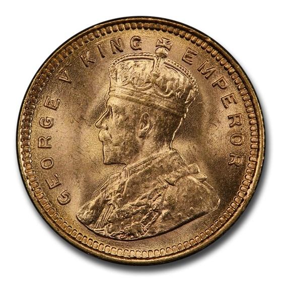 1918-B India Gold 5 Rupee George V MS-64+ PCGS