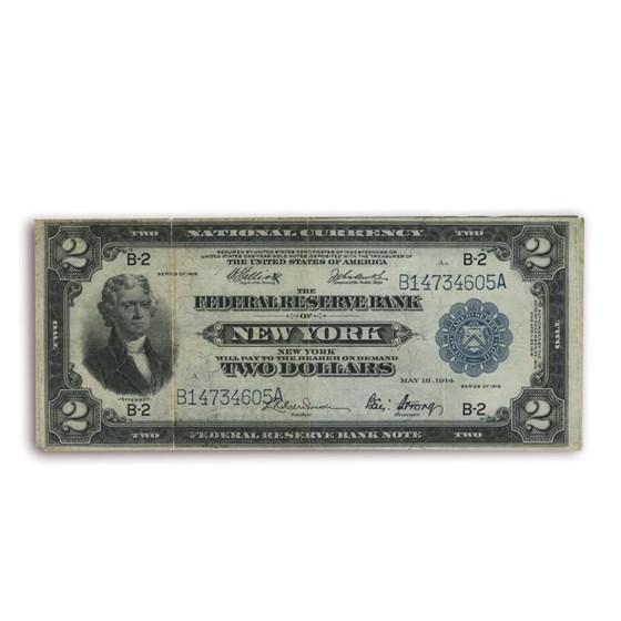 1918 (B-New York) $2.00 FRBN VF