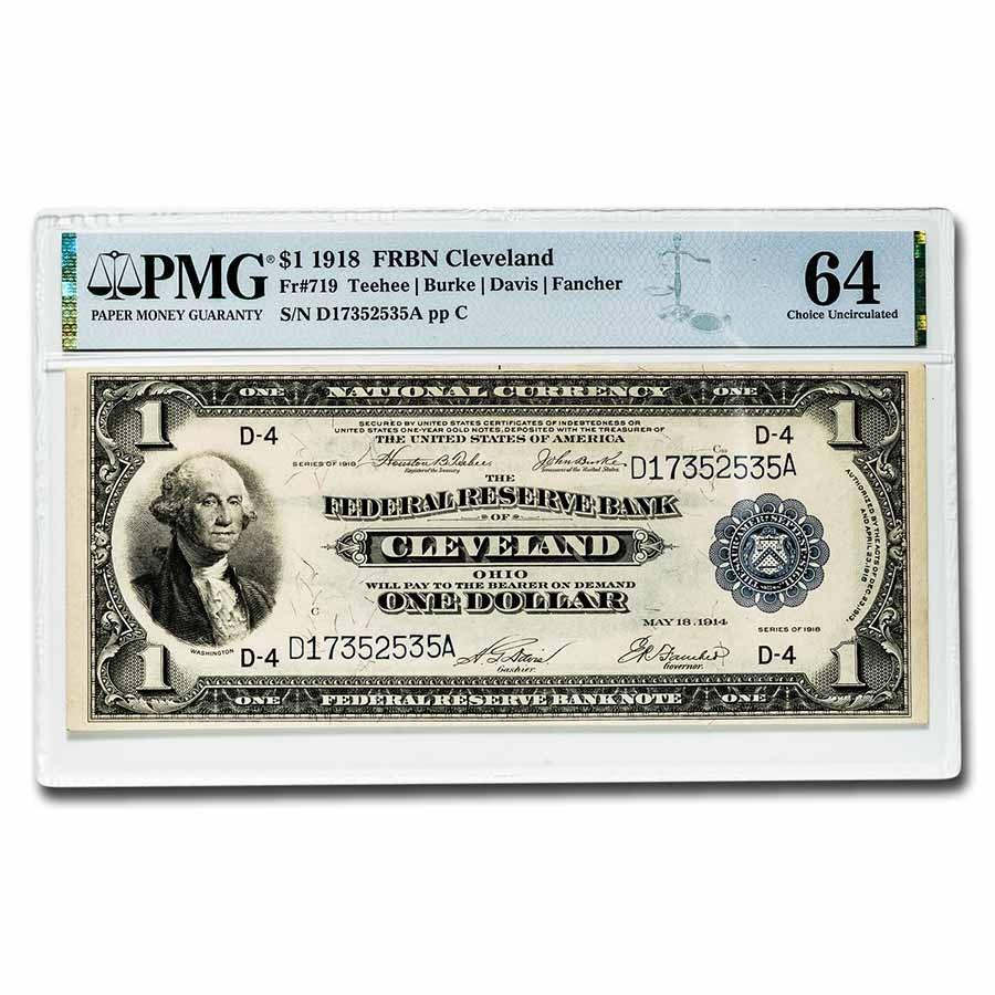 1918 (D-Cleveland) $1.00 FRBN CU-64 PMG (Fr#719)