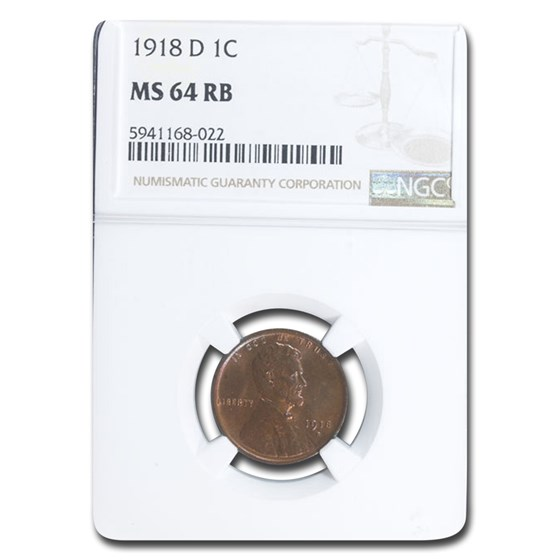 1918-D Lincoln Cent MS-64 NGC (Red/Brown)
