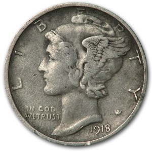 1918-D Mercury Dime XF