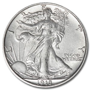 1918-D Walking Liberty Half Dollar AU-55 Details (Cleaned)