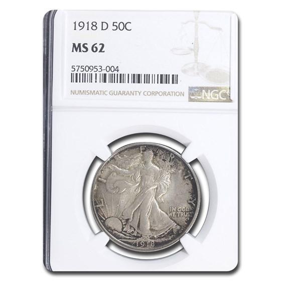 1918-D Walking Liberty Half Dollar MS-62 NGC
