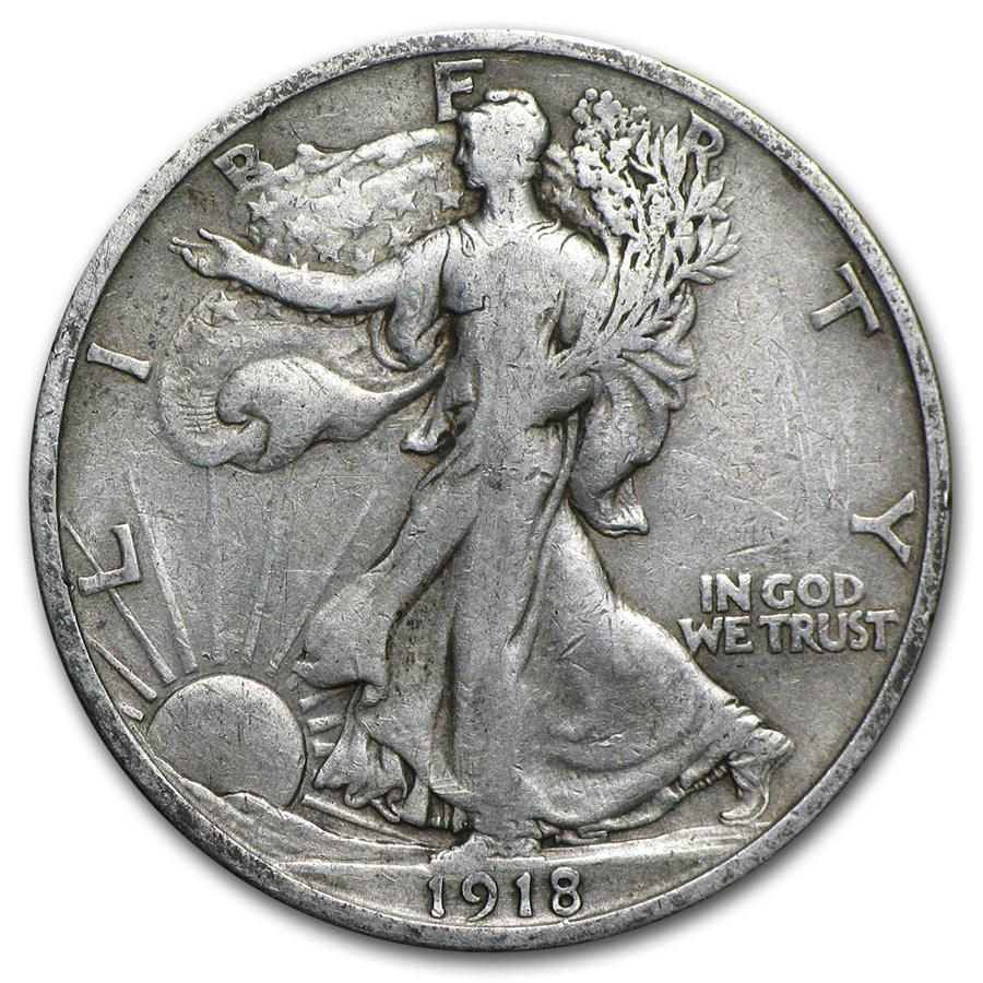 1918-D Walking Liberty Half Dollar VF