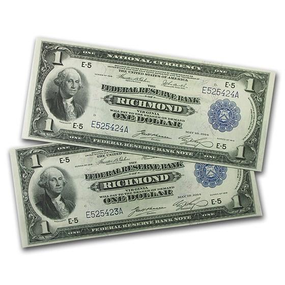1918 (E-Richmond) $1.00 FRBN AU (2 Consecutive)