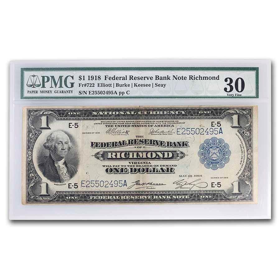 1918 (E-Richmond) $1.00 FRBN VF-30 PMG (Fr#722)