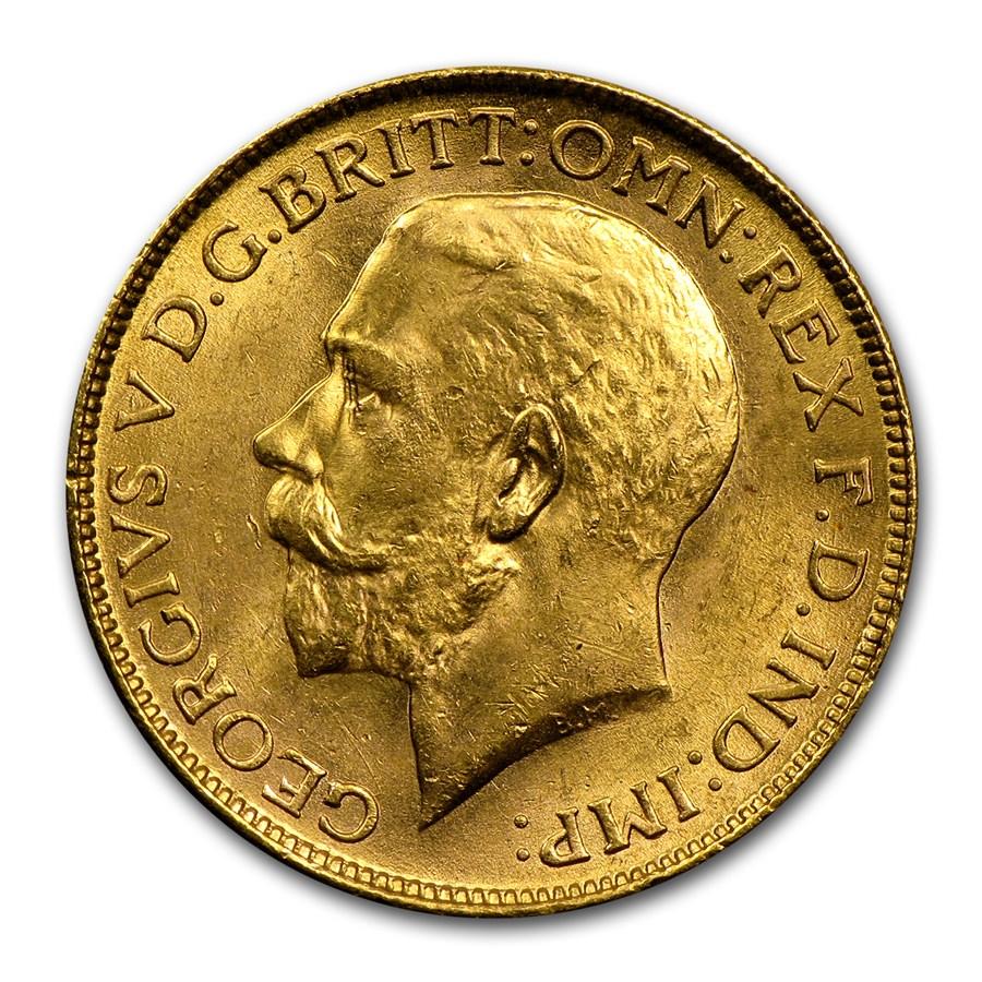 1918-I India Gold Sovereign George V BU