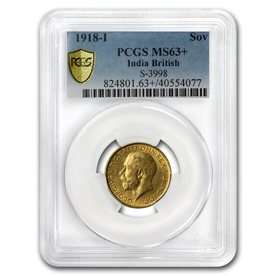 1918-I India Gold Sovereign George V MS-63+ PCGS