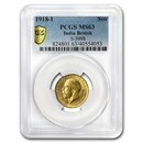 1918-I India Gold Sovereign George V MS-63 PCGS