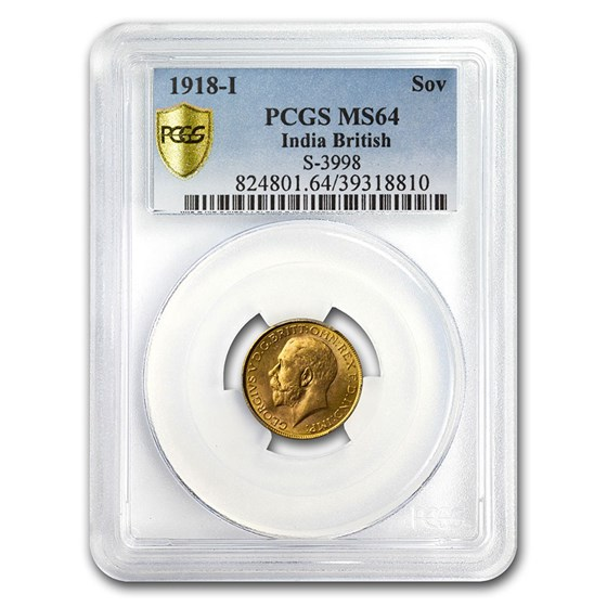 1918-I India Gold Sovereign George V MS-64 PCGS