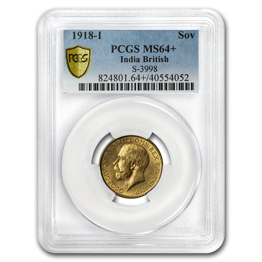 1918-I India Gold Sovereign George V MS-64+ PCGS